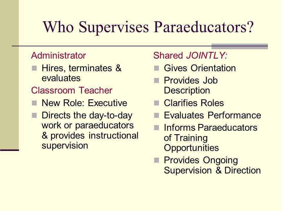 Who Supervises Paraeducators