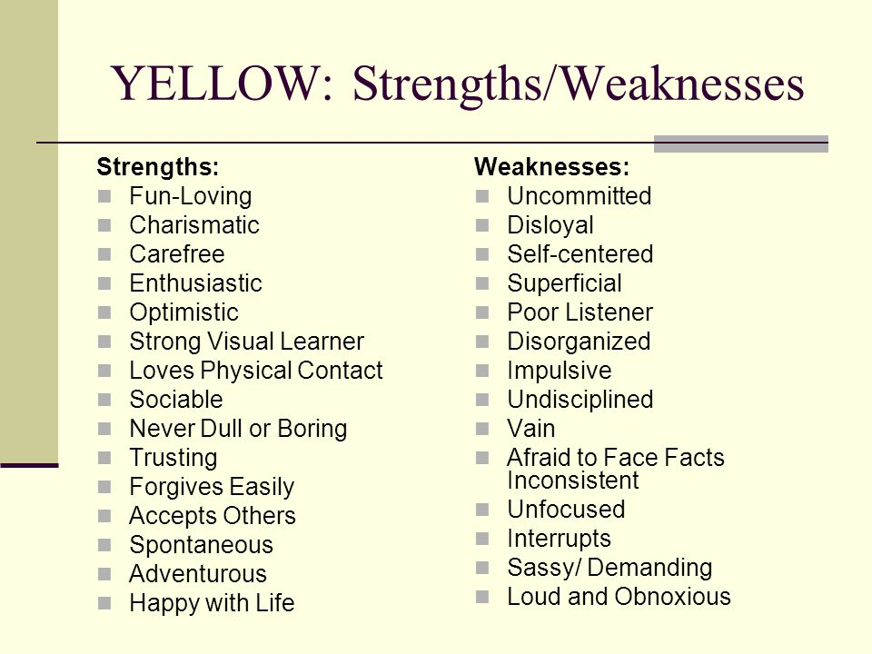 YELLOW: Strengths/Weaknesses