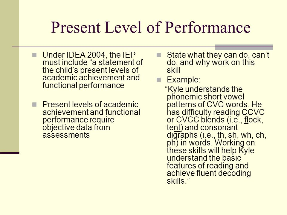 Present Level of Performance