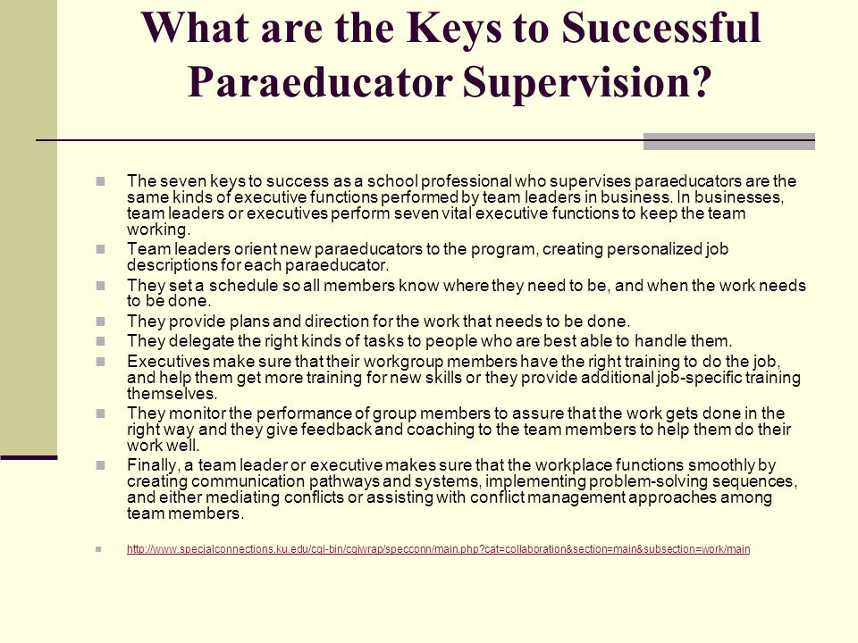 What are the Keys to Successful Paraeducator Supervision