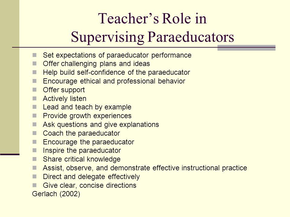 Teacher's Role in Supervising Paraeducators