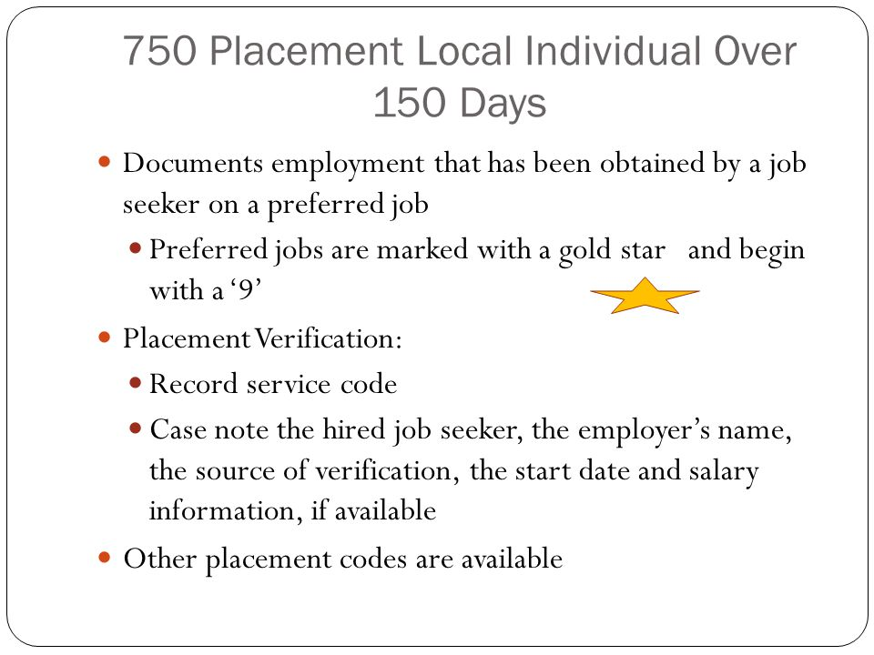 750 Placement Local Individual Over 150 Days