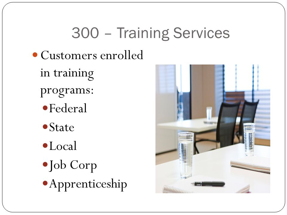 300 – Training Services Customers enrolled in training programs: