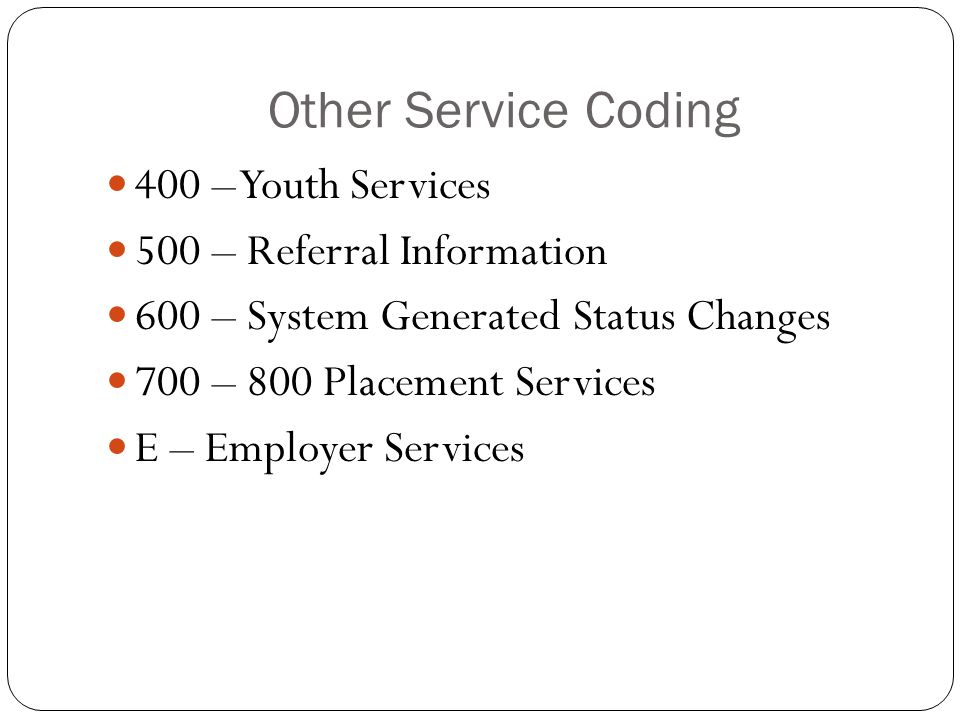 Other Service Coding 400 – Youth Services 500 – Referral Information