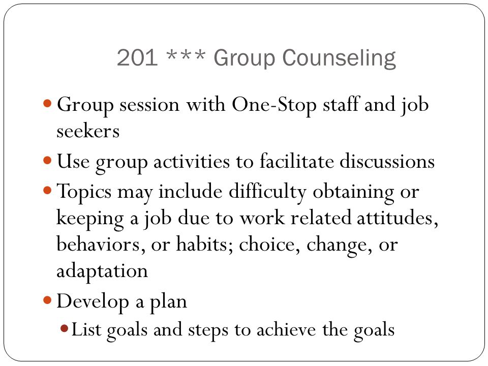 Group session with One-Stop staff and job seekers
