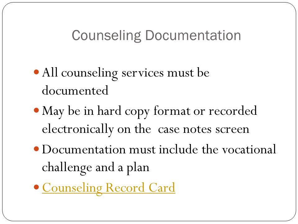 Counseling Documentation