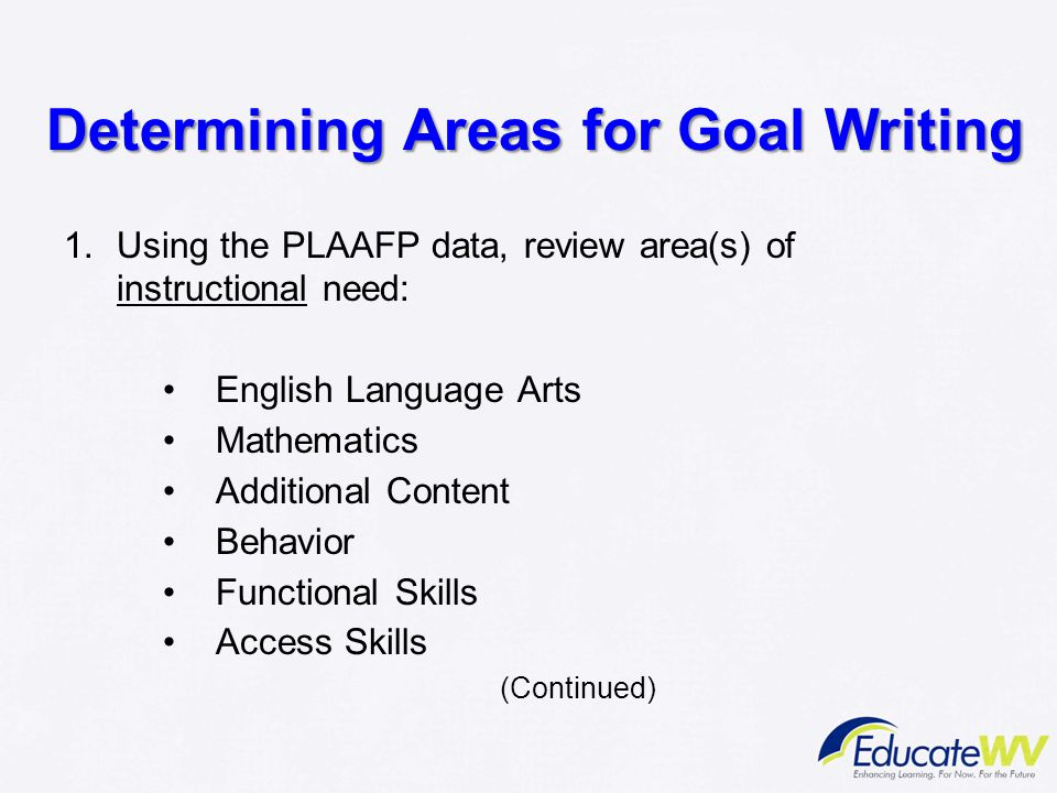 Determining Areas for Goal Writing
