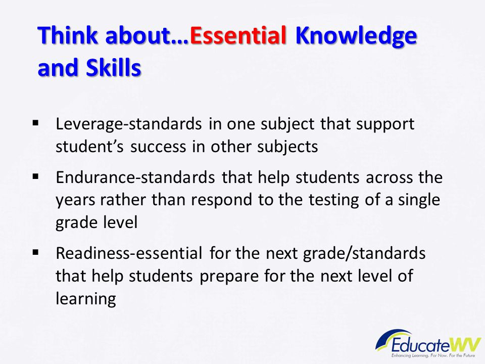 Think about…Essential Knowledge and Skills