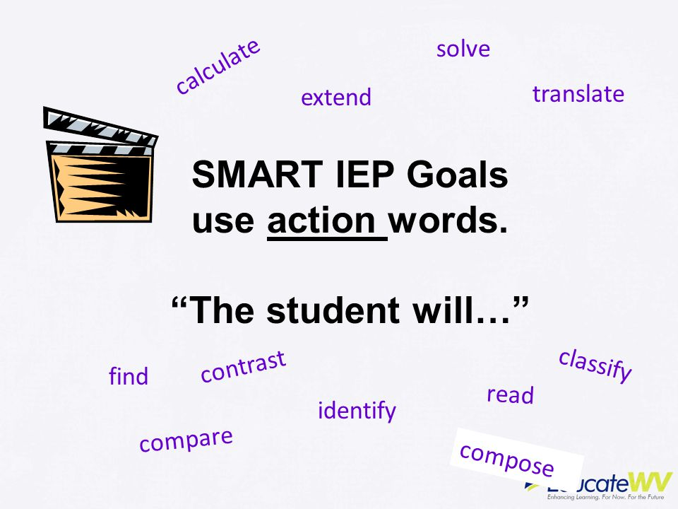 SMART IEP Goals use action words. The student will…