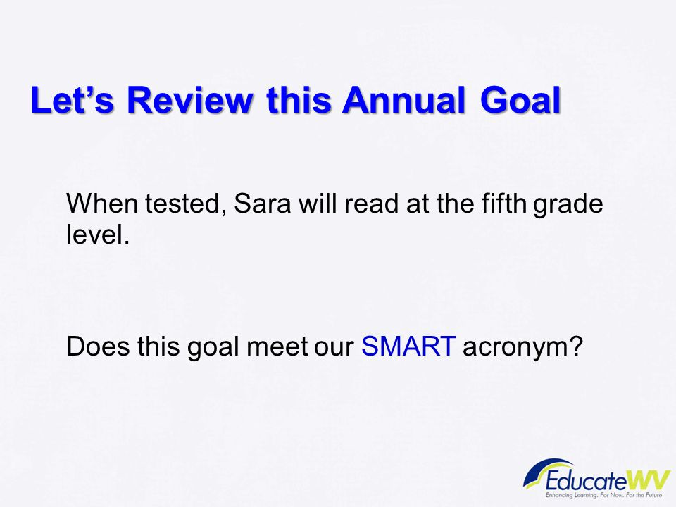 Let's Review this Annual Goal