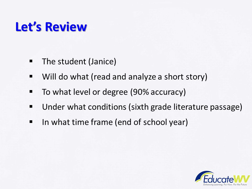 Let's Review The student (Janice)