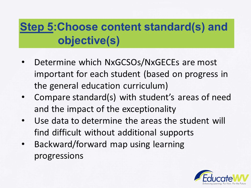Step 5:Choose content standard(s) and objective(s)