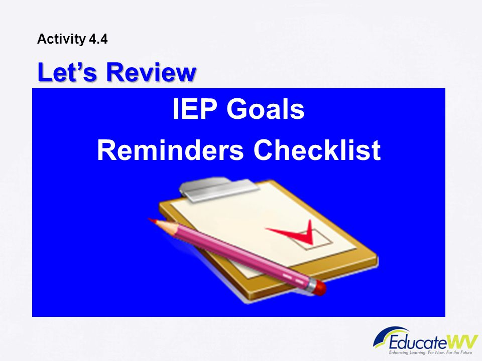 IEP Goals Reminders Checklist