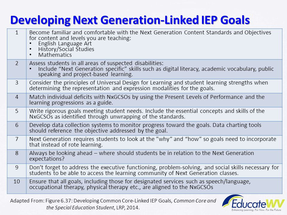 Developing Next Generation-Linked IEP Goals