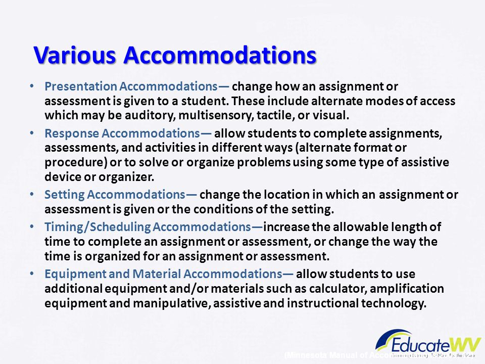 Various Accommodations