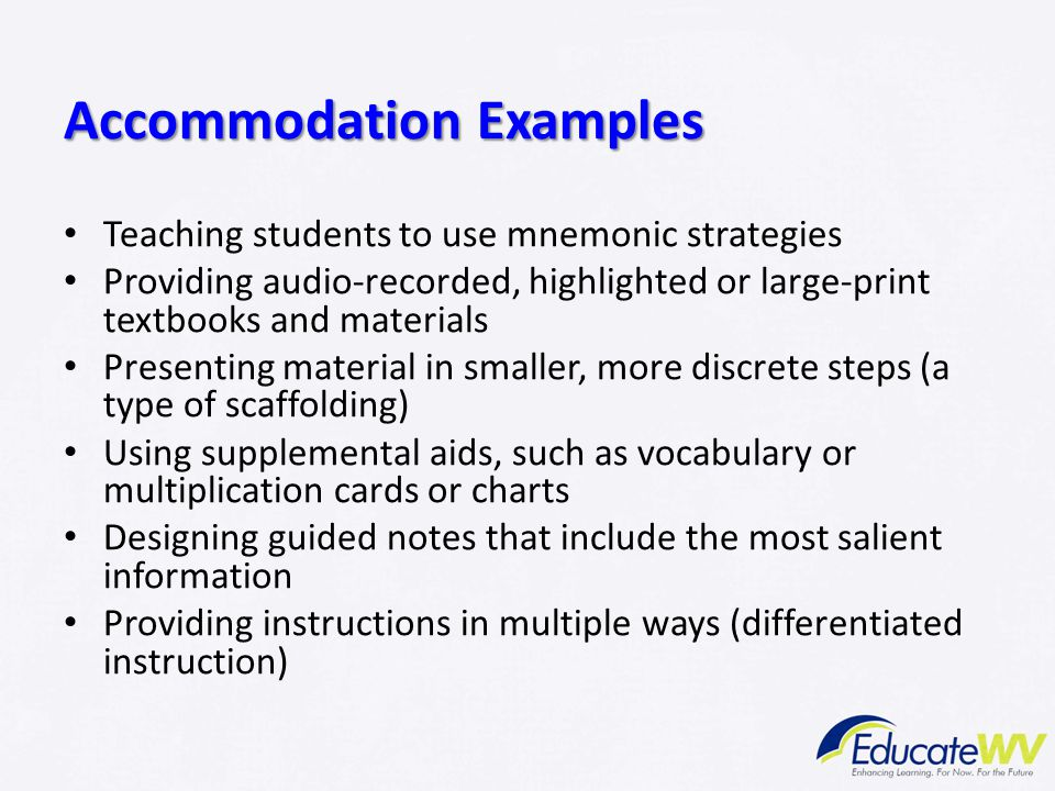 Accommodation Examples