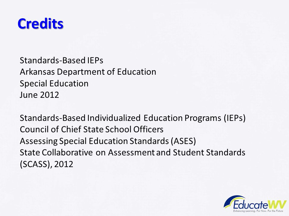 Credits Standards-Based IEPs Arkansas Department of Education