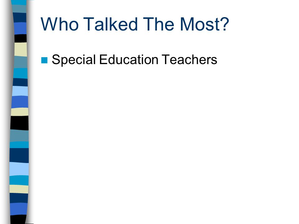Who Talked The Most Special Education Teachers