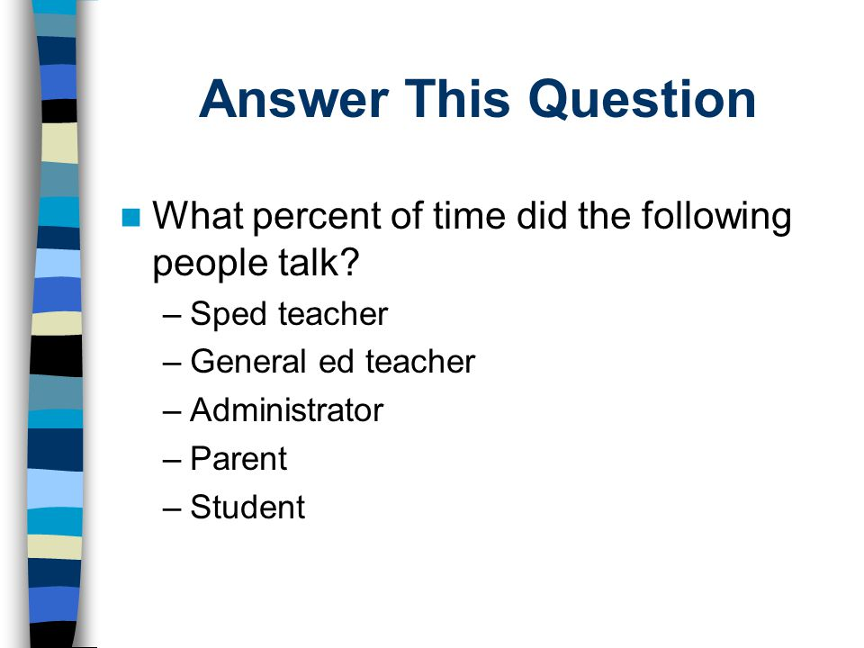 Answer This Question What percent of time did the following people talk Sped teacher. General ed teacher.