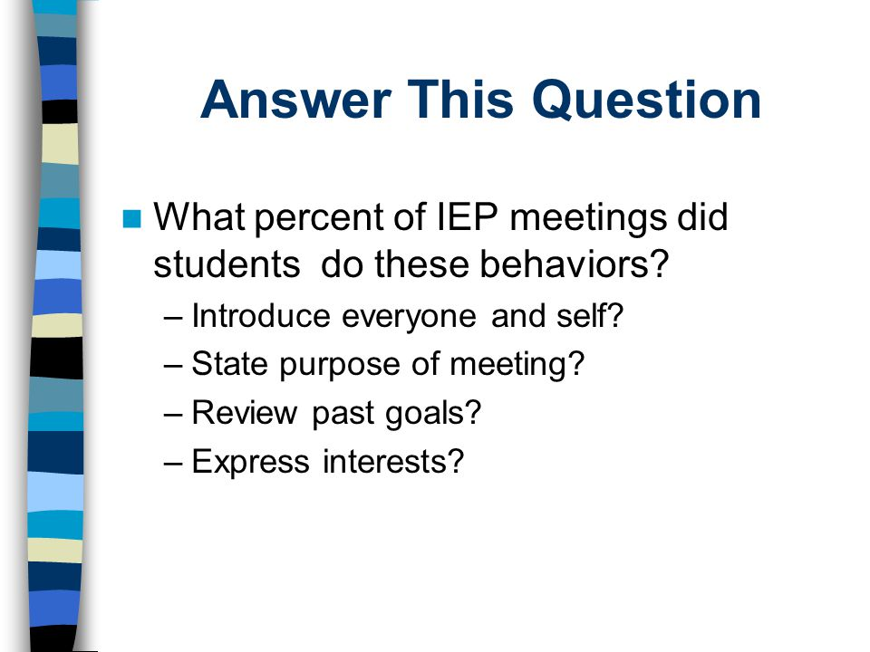 Answer This Question What percent of IEP meetings did students do these behaviors Introduce everyone and self