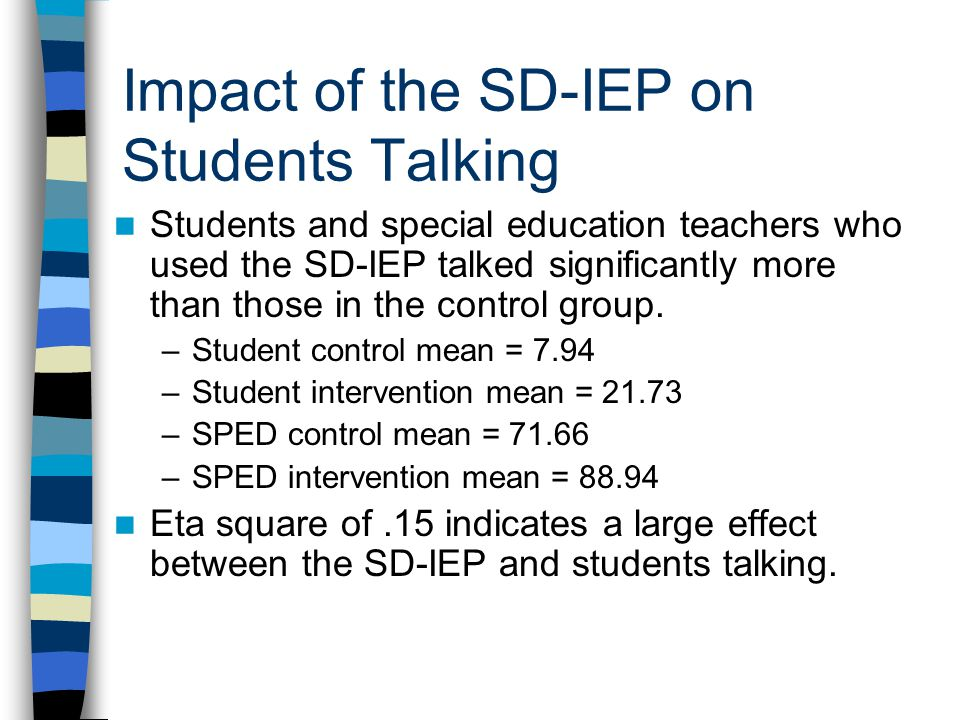Impact of the SD-IEP on Students Talking