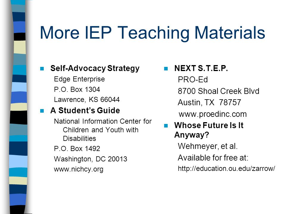 More IEP Teaching Materials