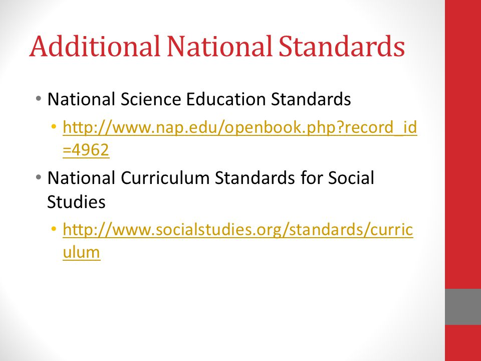 Additional National Standards