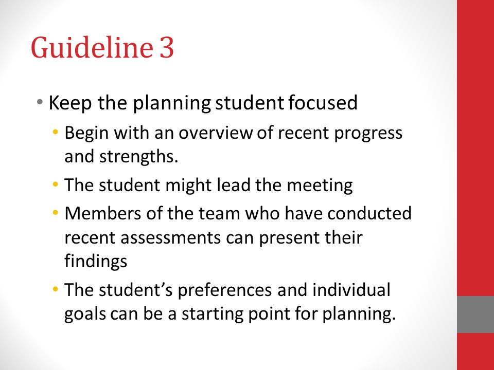 Guideline 3 Keep the planning student focused