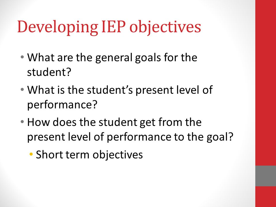 Developing IEP objectives