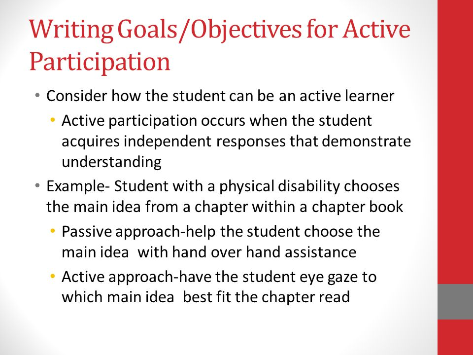 Writing Goals/Objectives for Active Participation