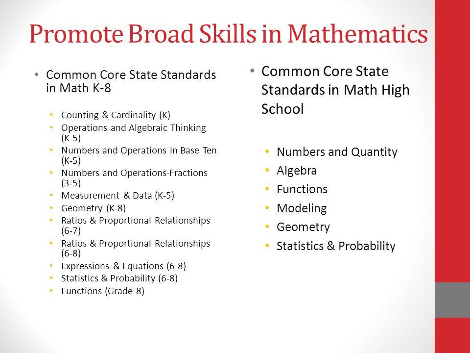 Promote Broad Skills in Mathematics