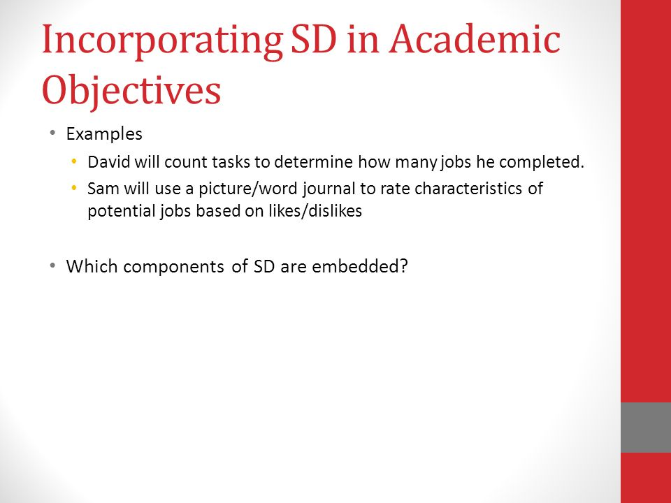 Incorporating SD in Academic Objectives