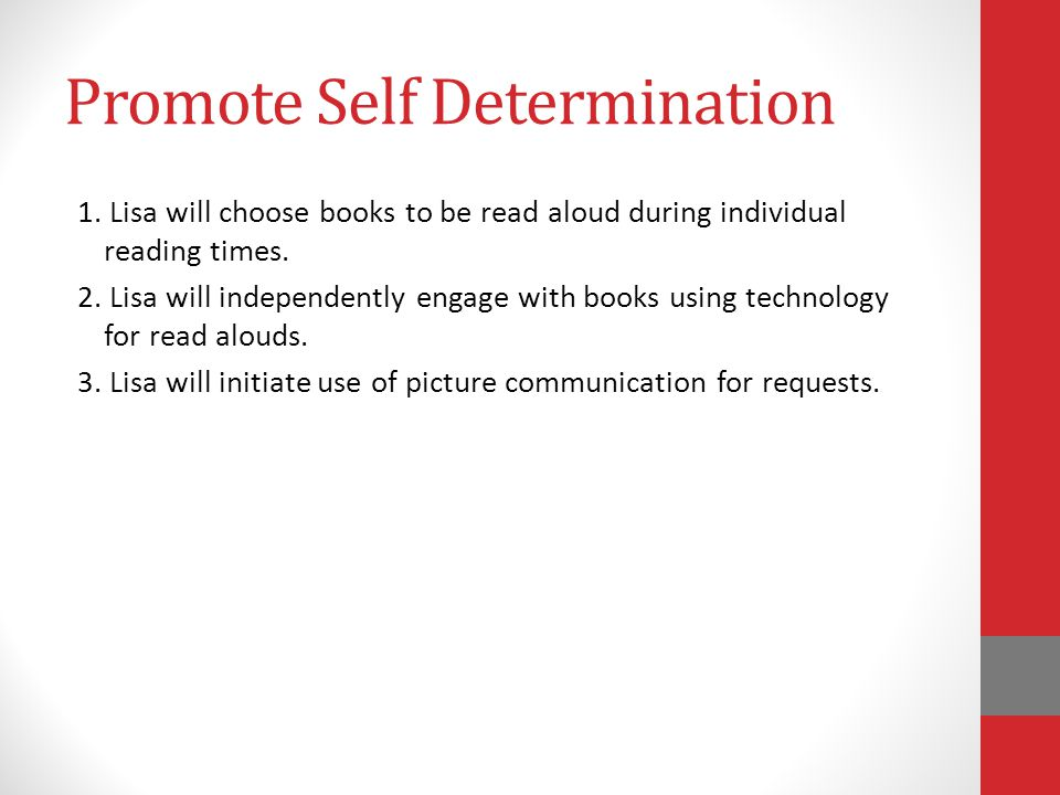 Promote Self Determination