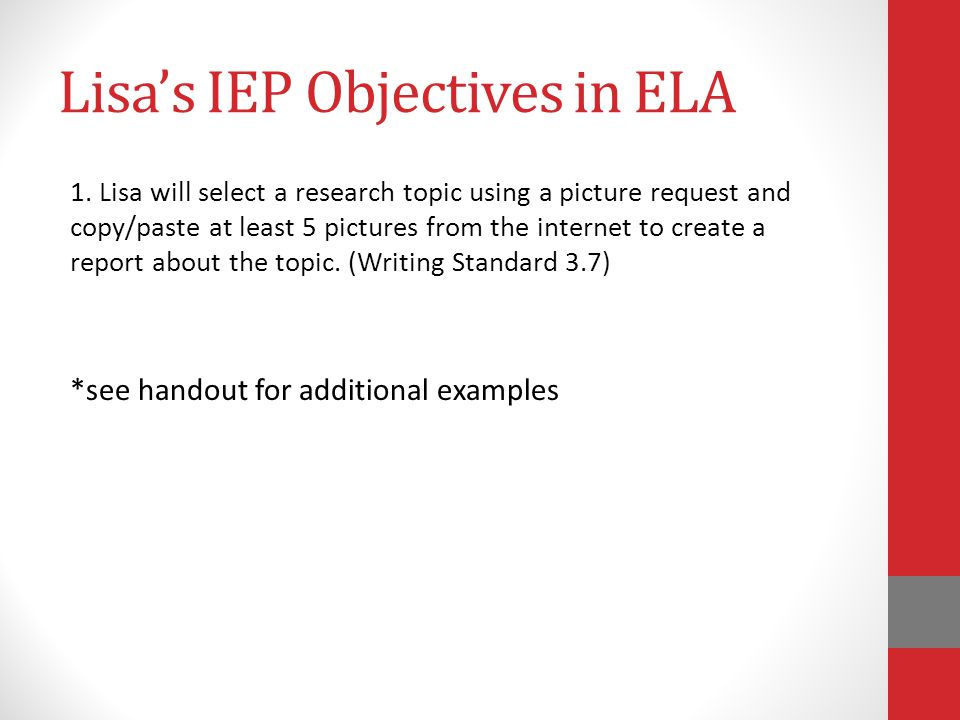 Lisa's IEP Objectives in ELA