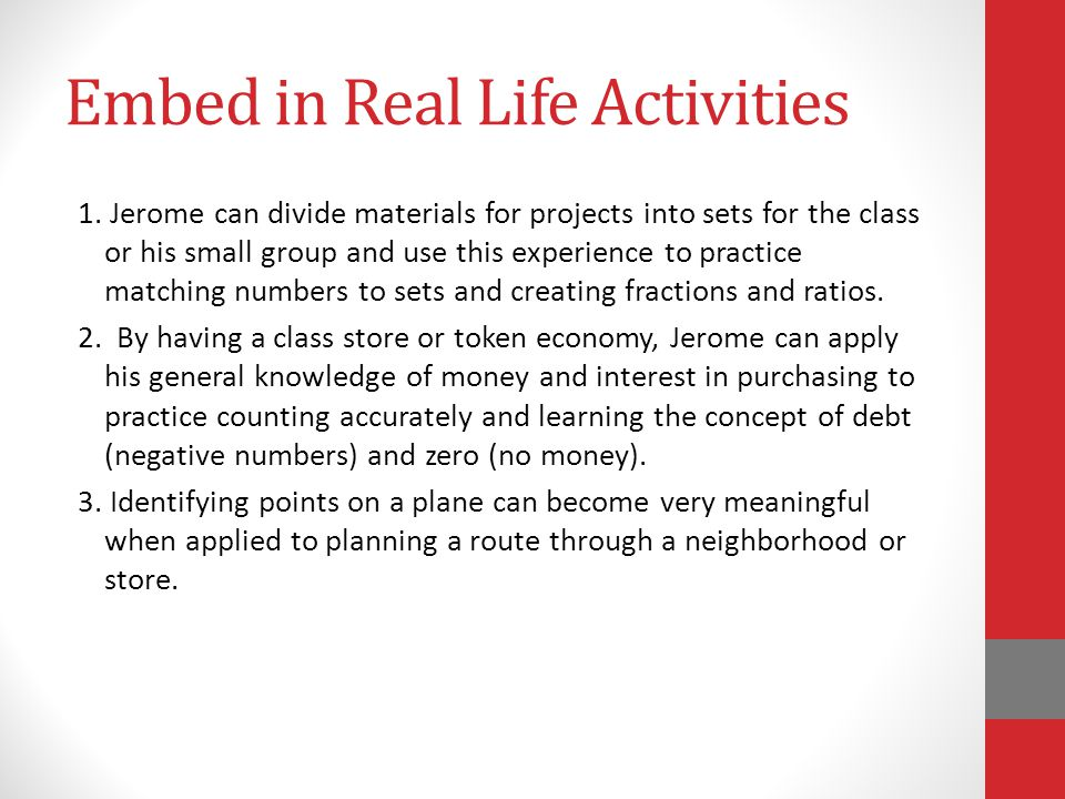 Embed in Real Life Activities