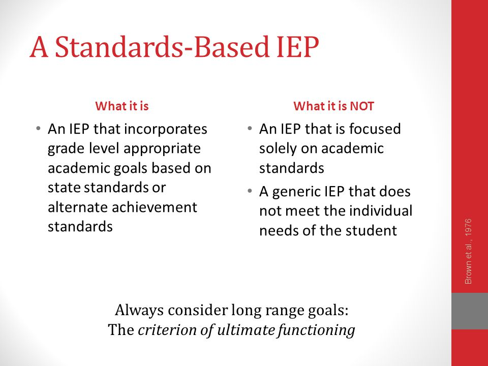 A Standards-Based IEP What it is. What it is NOT.