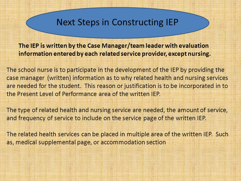 Next Step in Constructing Building the Written IEP