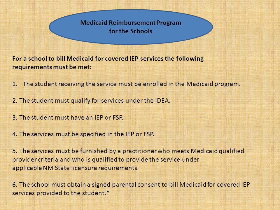 Medicaid Reimbursement Program for the Schools