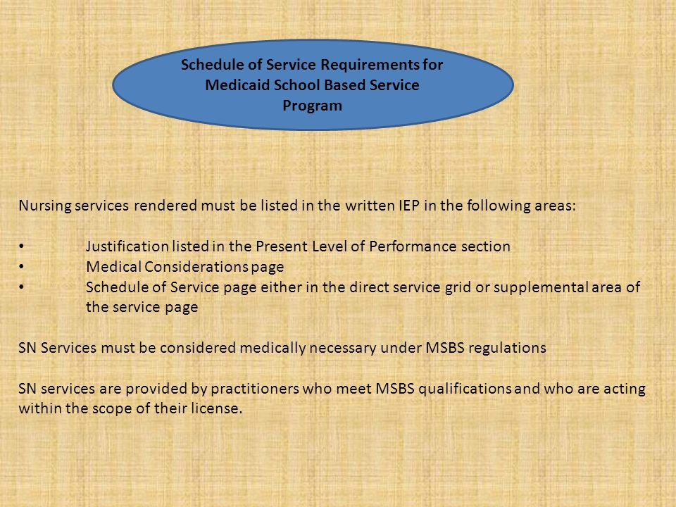Schedule of Service Requirements for Medicaid School Based Service Program
