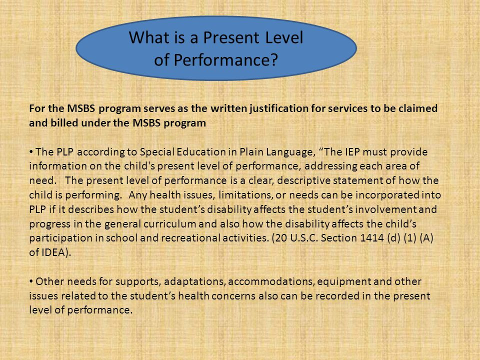 What is a Present Level of Performance