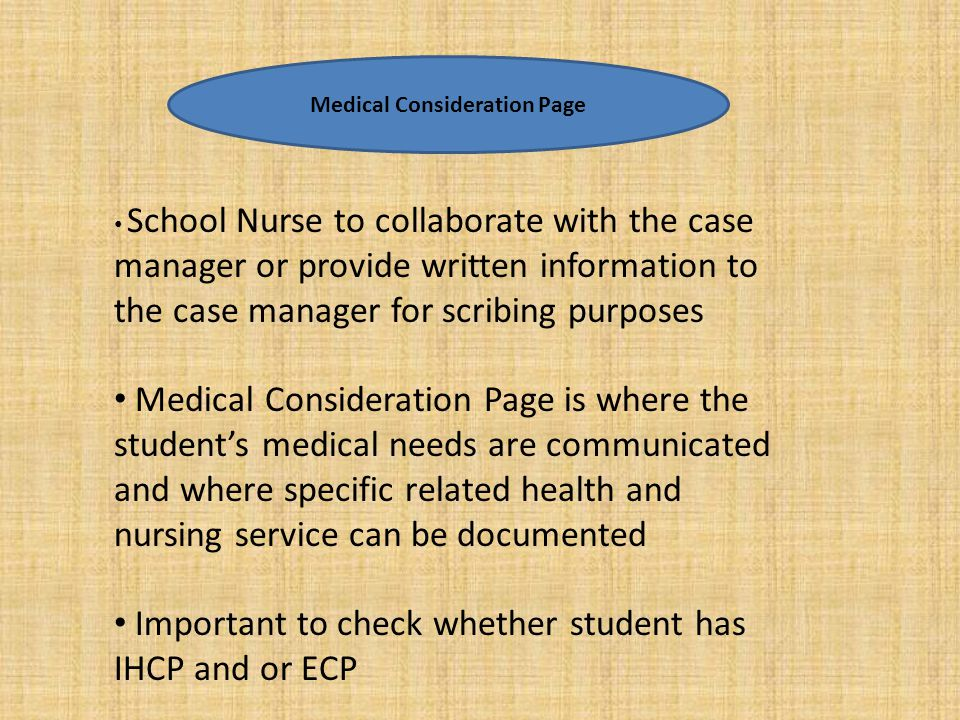 Medical Consideration Page