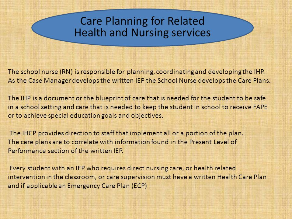 Care Planning for Related Health and Nursing services
