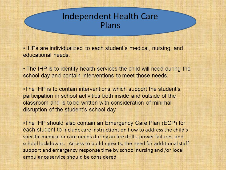 Independent Health Care Plan Components