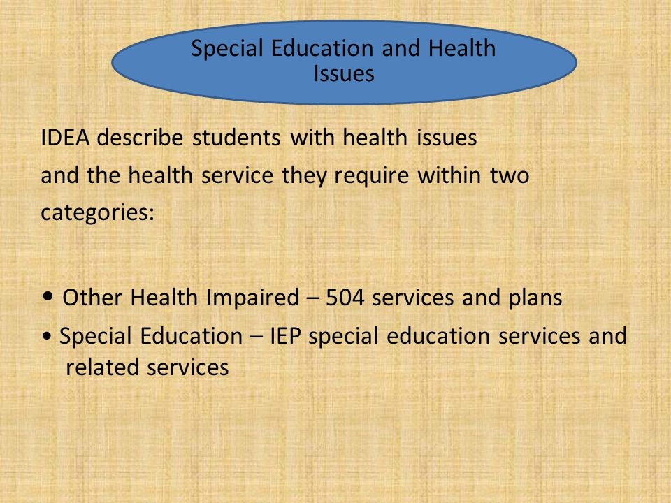 Special Education and Health Issues