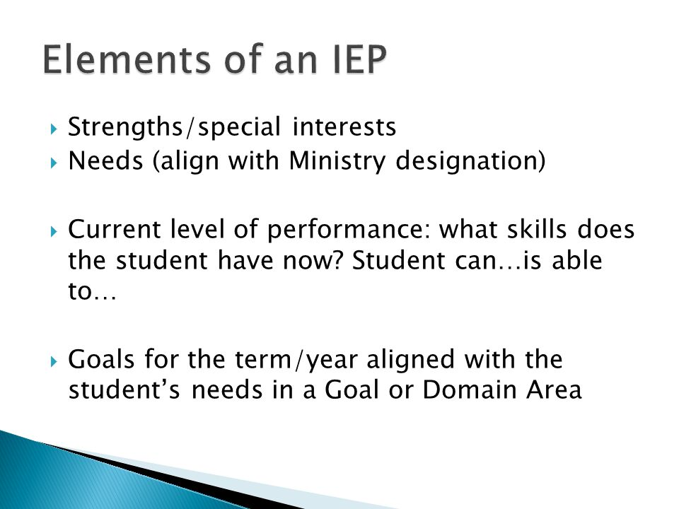 Elements of an IEP Strengths/special interests