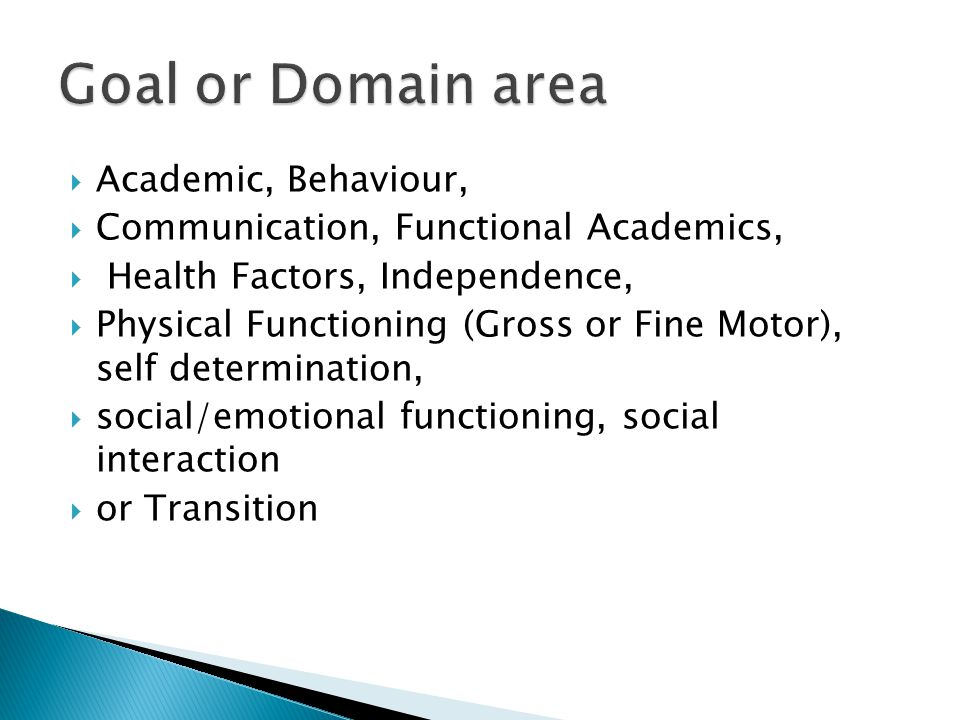 Goal or Domain area Academic, Behaviour,