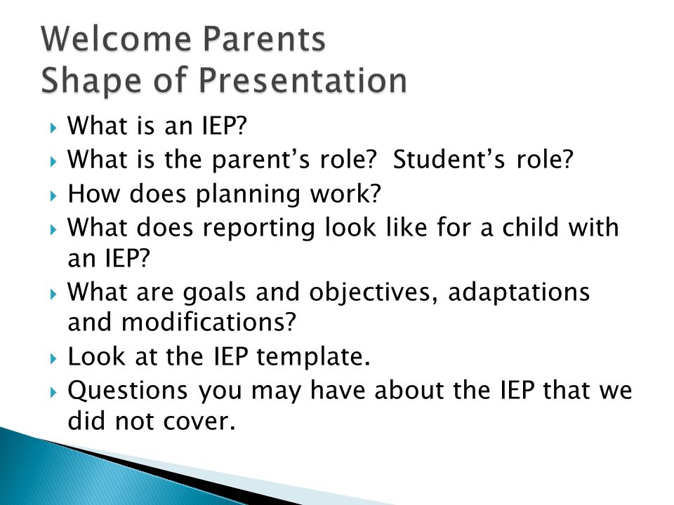 Welcome Parents Shape of Presentation