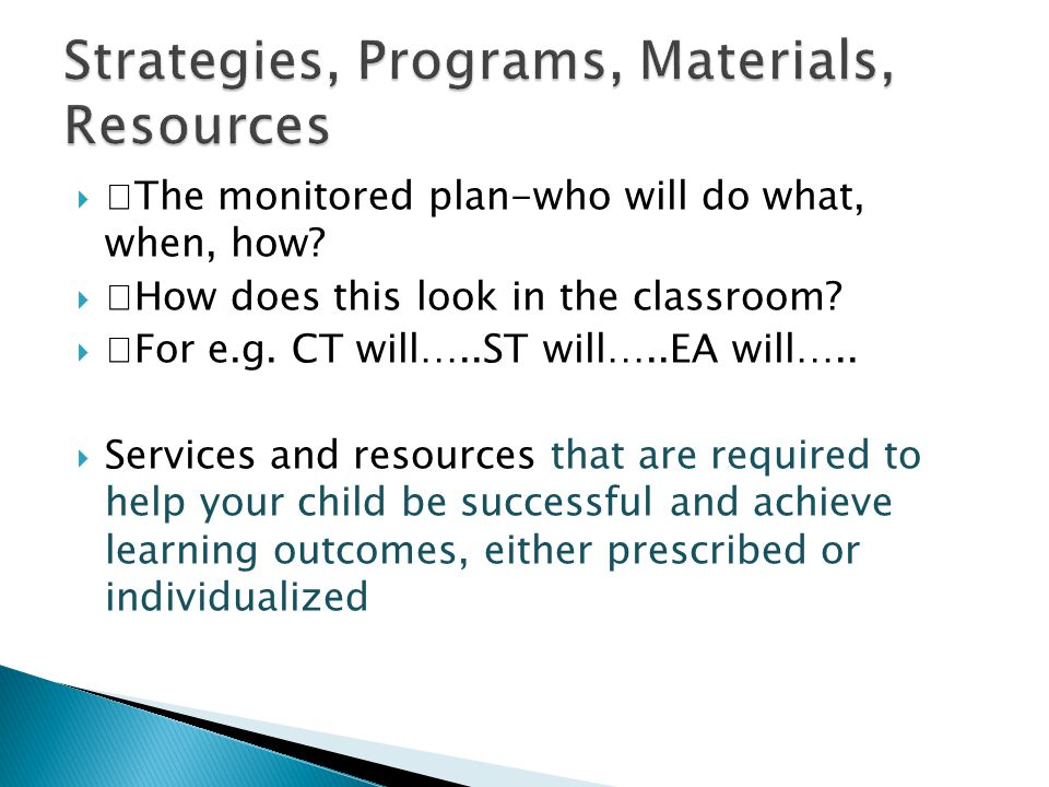 Strategies, Programs, Materials, Resources