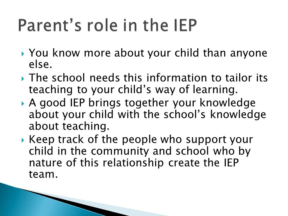 Parent's role in the IEP