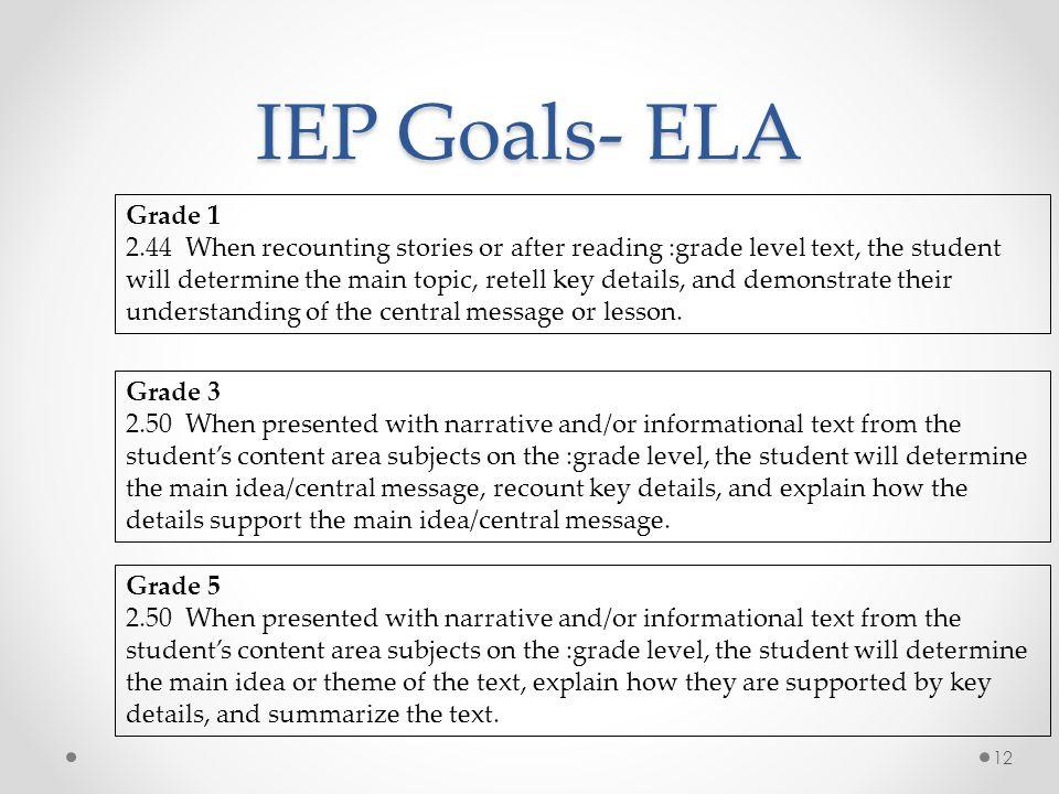 IEP Goals- ELA Grade 1.